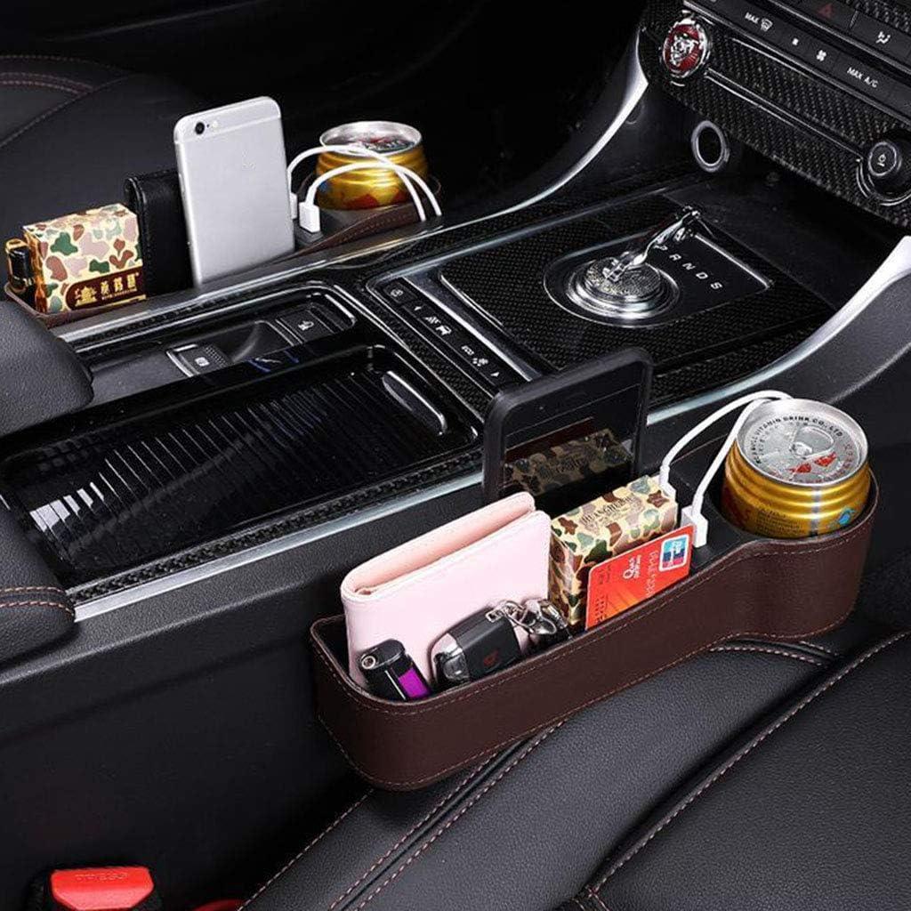 Black B Console Side Pocket Storage Box Holder Organizer with 2 USB Charging Ports 2 Lighters Sockets D DOLITY Car Seat Gap Filler