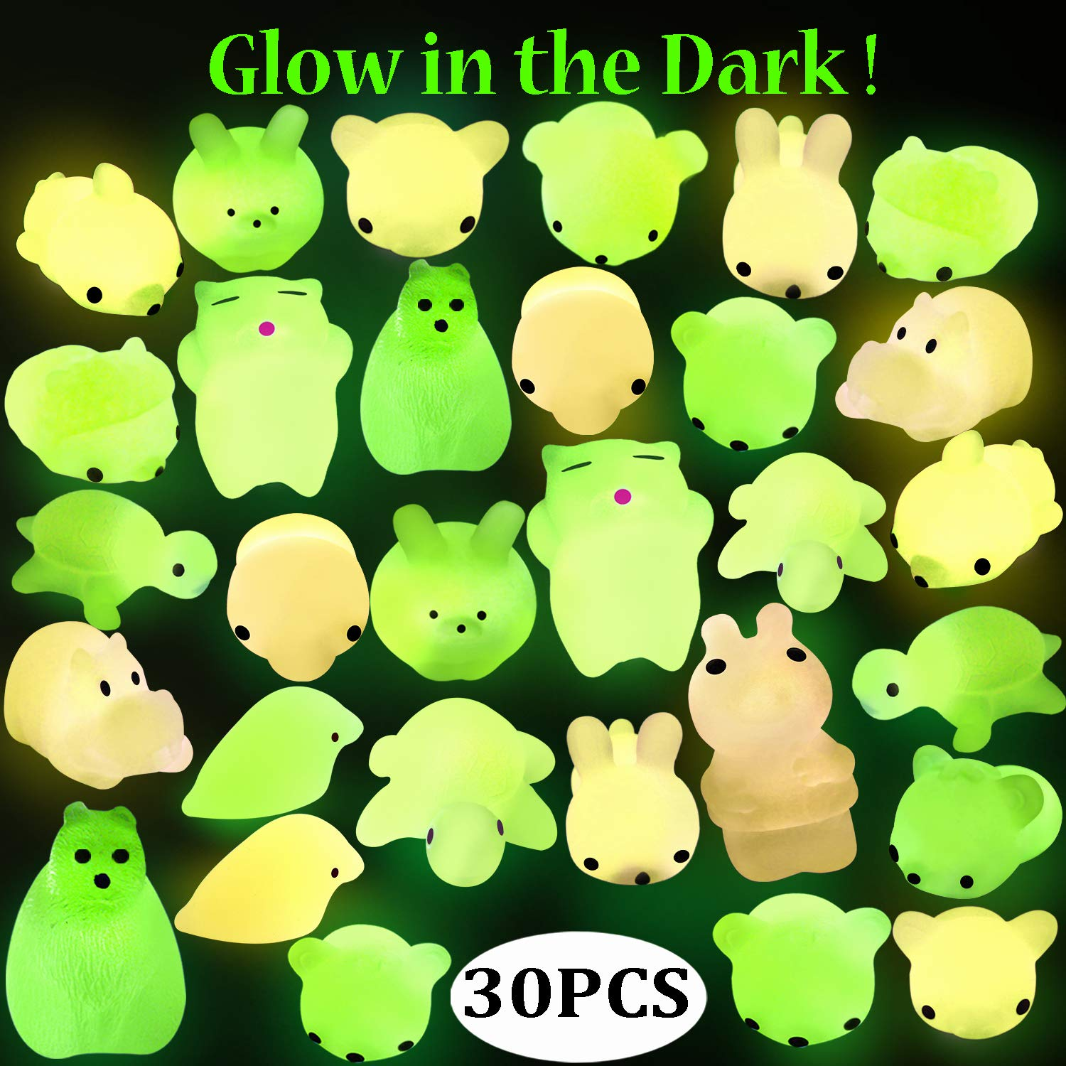 Outee Mochi Animals Stress Toys, 30 Pcs Mini Squishies Mochi Squishies Toys Mochi Cat Glow in The Dark Squishies Squeeze Relief Stress Toys for Kids Adults