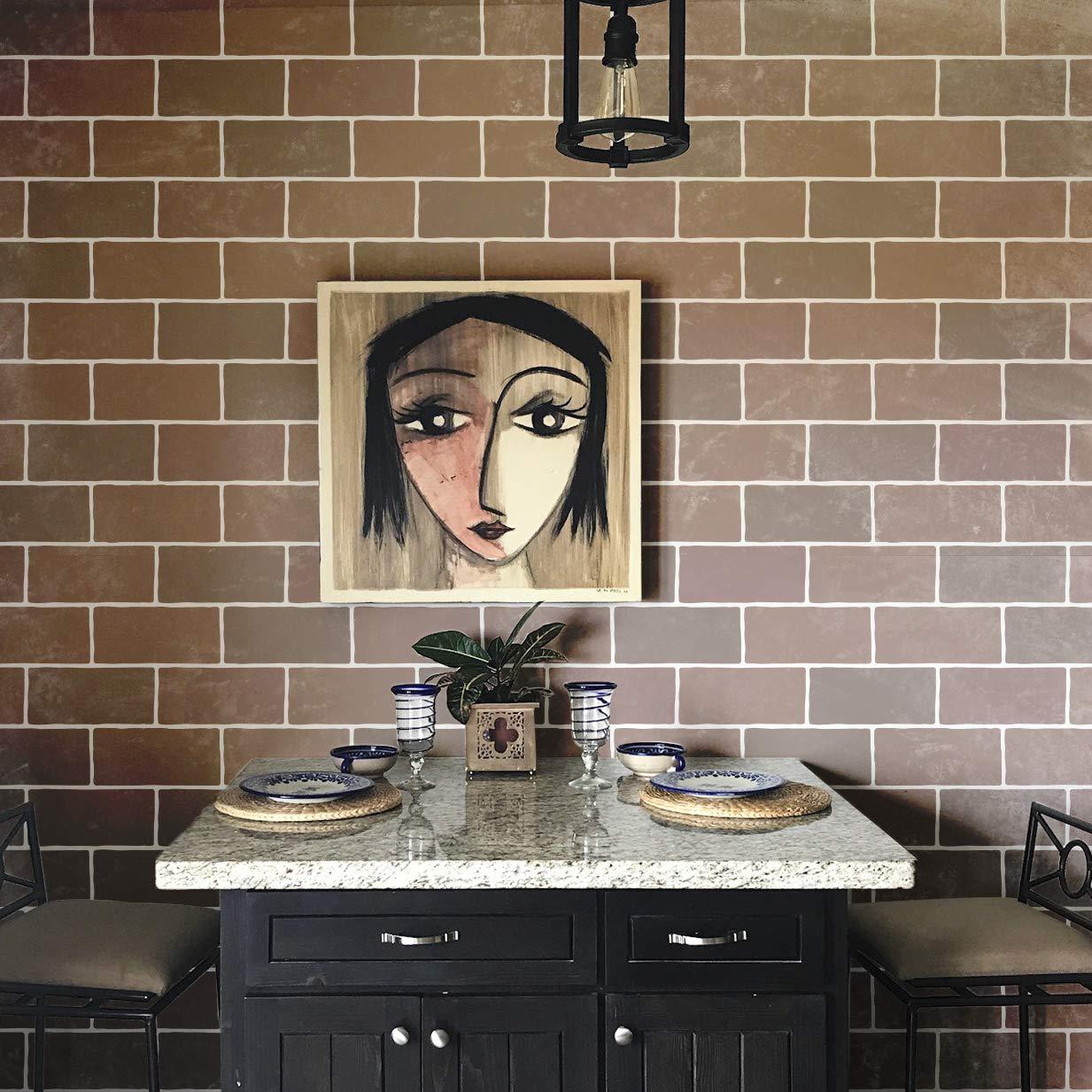 Brick Wall Stencil - Faux Brick Wallpaper Design - Painted Brick Wall or Floor Pattern Royal Design Studio Stencils