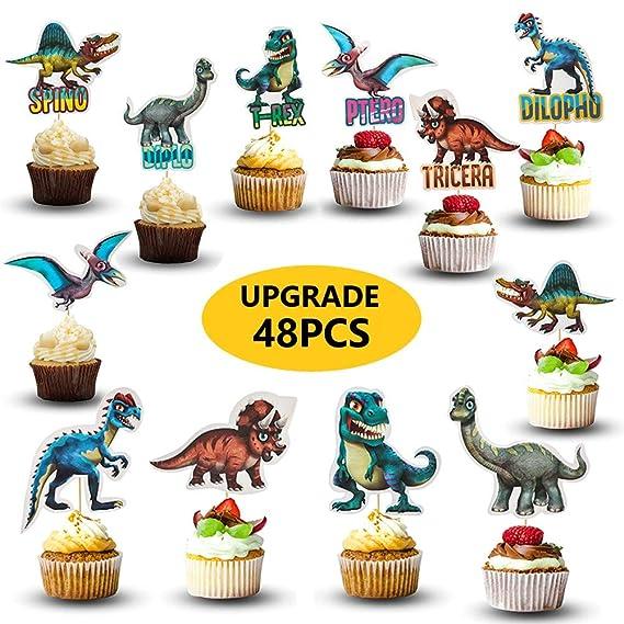 48 decoraciones para cupcakes de dinosaurios | Suministros ...