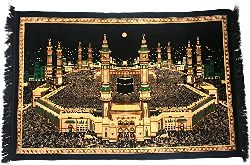 Al Arabia Islamic Tapestry – Islamic Wall Art – Features Holy Kaaba Mecca Design – Made in Turkey – Wall Decor – Perfect Islamic Decoration for Home – Embossed Plush Velvet, 63 x 43