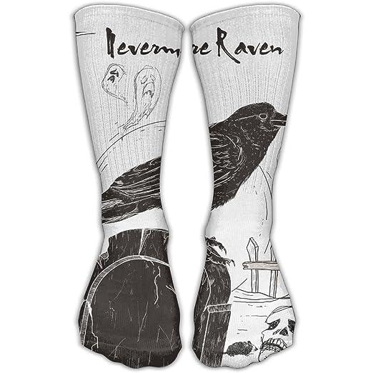 6068f2d32 Amazon.com  Etrfr Nevermore Raven Black Bird Halloween Spooky 1 Custom Knee  High Socks Football Baseball Long Stockings For Men Women 30CM  Clothing