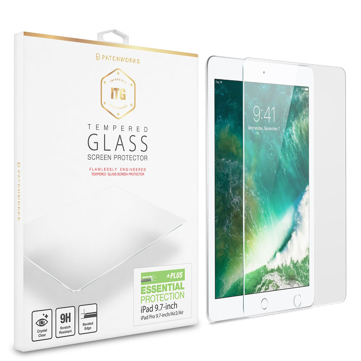 iPad 9.7 Screen Protector Patchworks ITG - Made in Japan Soda-lime Glass, Finished in Korea, Tempered Glass for iPad 9.7 inch 2017/iPad Pro 9.7/iPad Air2/iPad Air