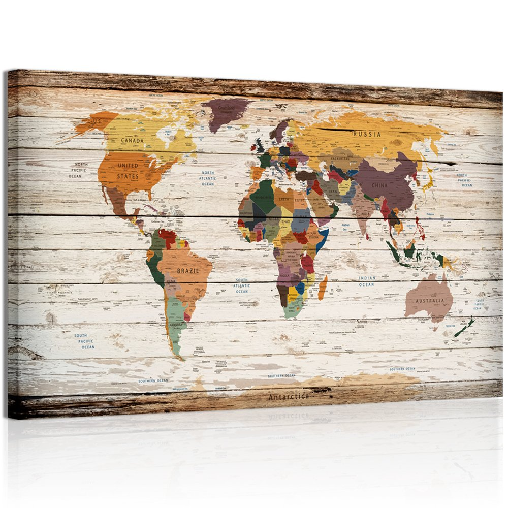 Wood world map amazon xlarge vertical wood styled map canvas prints framed vintage world map home wall decoration art gumiabroncs Image collections