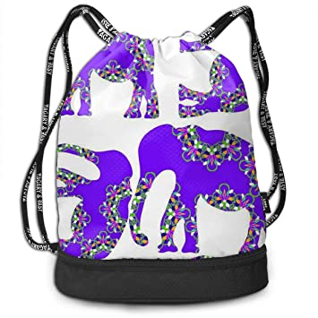 2e82991799 Drawstring Bag Purple Flower Elephant Womens Gym Backpack Customized Mens  Travel Canvas Bags for Boys