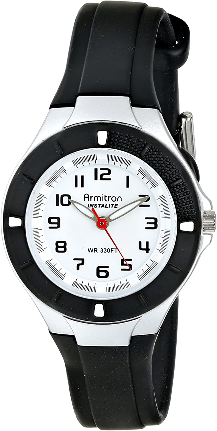 Armitron Sport Women's 25/6416BLK Easy-to-Read Dial Black Resin Strap Watch: Watches