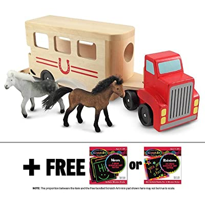 Melissa & Doug Wooden Horse Carrier Toy & 1 Scratch Art Mini-Pad Bundle (04097): Toys & Games