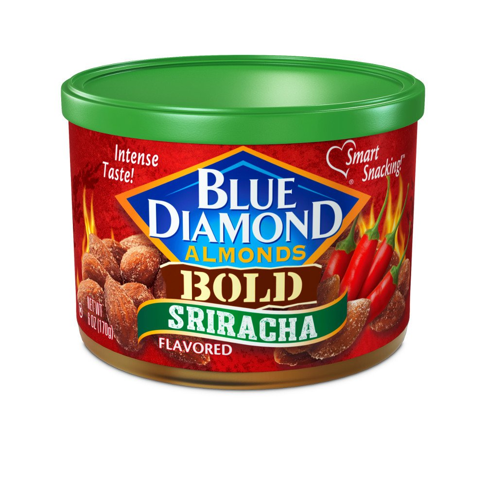 BOLD Sriracha Flavored Almonds - case of twelve 6oz cans