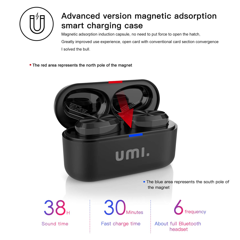 TWS by negro Umi Auriculares de bot/ón inal/ámbricos W9  con Bluetooth 5.0 y certificaci/ón IPX7 compatibles con iPhone Samsung Huawei  y estuche con base de carga