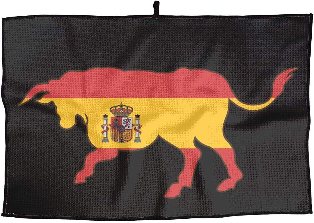HGQHXY.U Toalla de Golf de Microfibra Transpirable Bull con Bandera de España - Toalla Deportiva de Secado rápido de 15 X 24 Pulgadas para Golf, Entrenamiento, natación, Gimnasio, Yoga, Camping: Amazon.es: Deportes