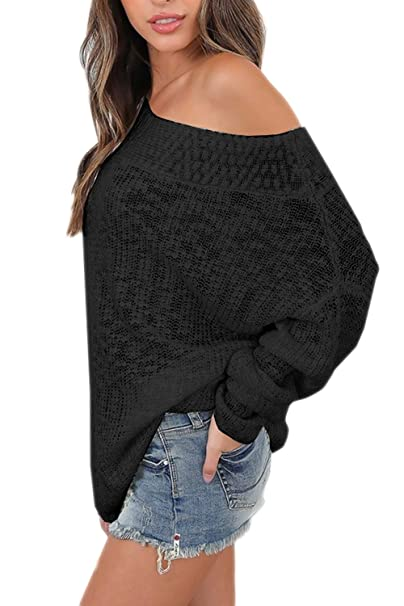54e7ae6b5ec562 Suvotimo Women Casual Over Size Loose Off Shoulder Knit Sweater Tops Black S