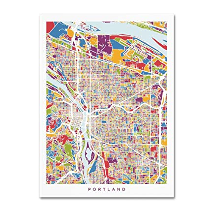 Amazon.com: Trademark Fine Art Portland Oregon City Street Map by ...