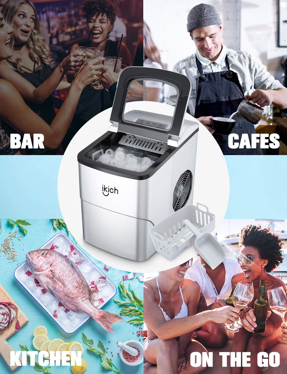 Electric Ice Maker 2L with Ice Scoop and Basket Make 26 lbs Ice in 24 Hrs with LED Display Perfect for Parties Mixed Drinks Ice Cubes Ready in 6 Mins IKICH Portable Ice Maker Machine for Countertop