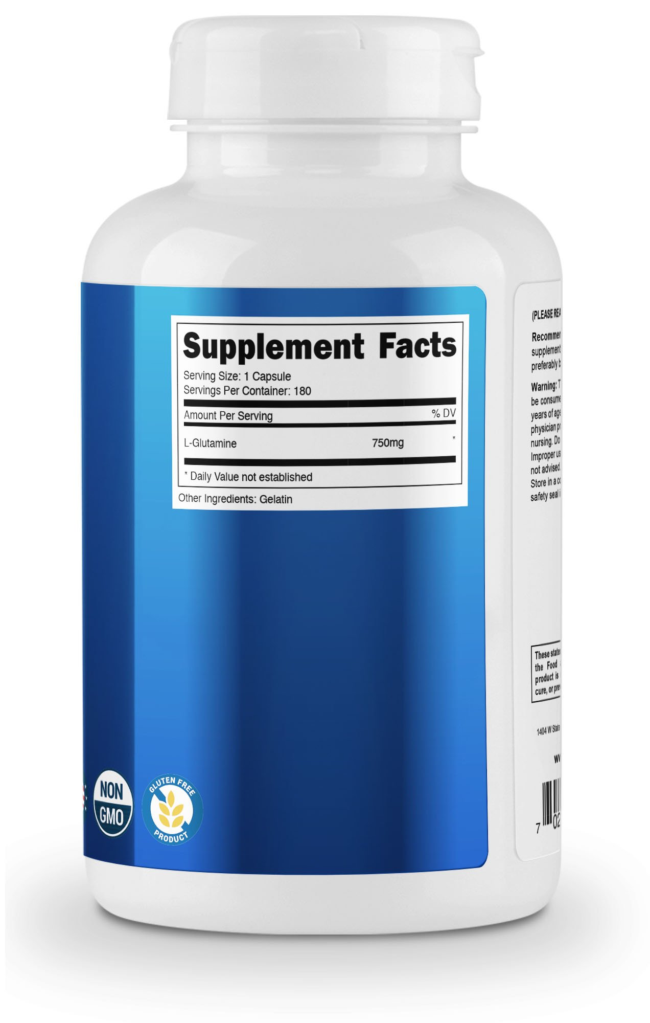 Nutricost L-Glutamine 750mg; 180 Capsules by Nutricost (Image #4)