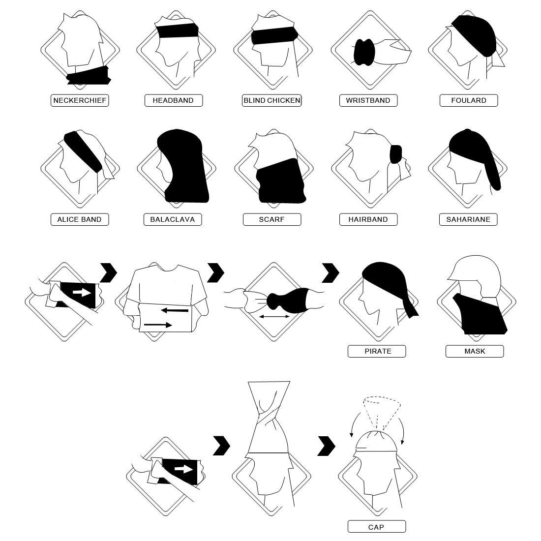 Amazon.com  kilofly Multi-purpose Seamless Headwear Bandanas Mixed Set  Value Pack  Set of 8   Clothing 6a2952c195da