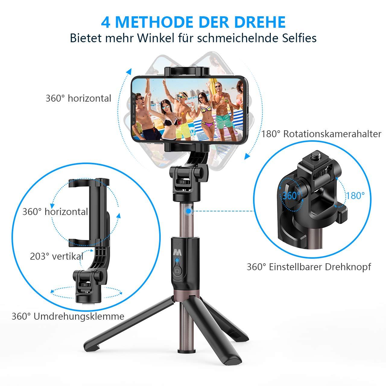 Selfiestick Stativ Bluetooth Wireless Mini Selfie Stange Stab mit Abnehmbarer Bluetooth Fernbedienung 4 in 1 360/° Rotation f/ür alle Bluetooth-f/ähige Smartphones und Kamera GoPro Romanda Selfie Stick