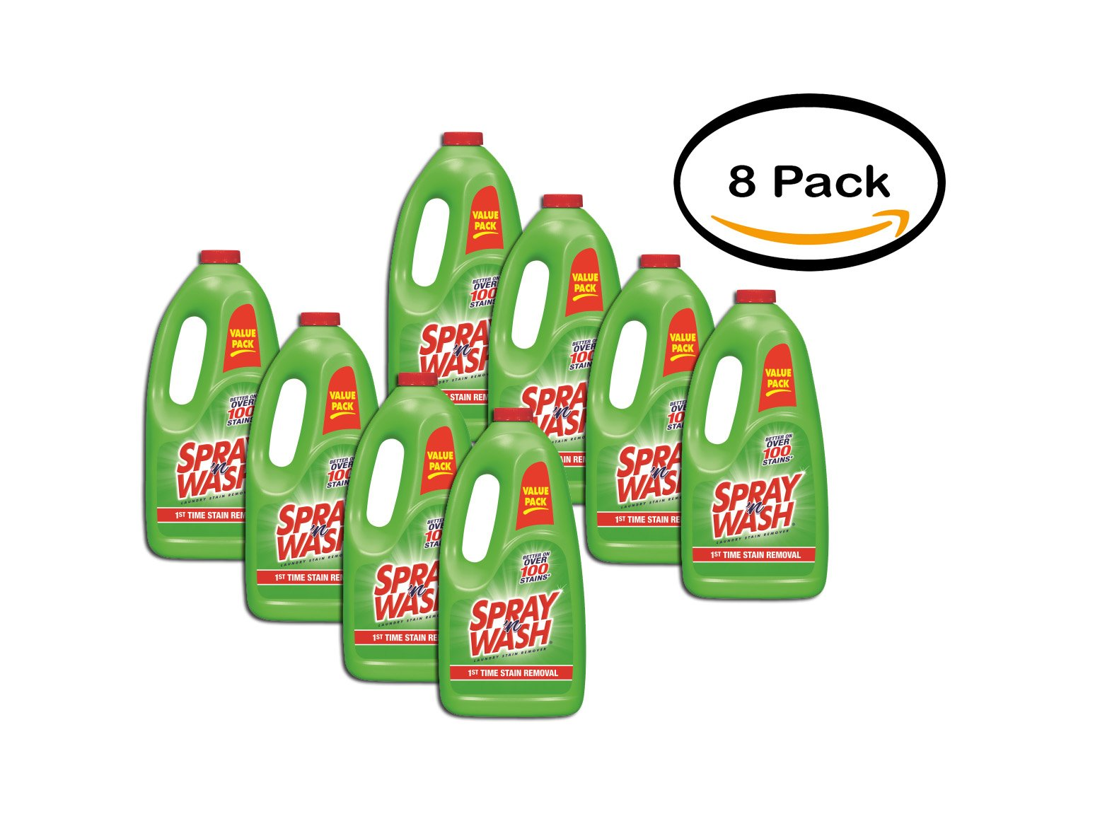 PACK OF 8 - Spray 'n Wash Pre-Treat Laundry Stain Remover Refill, 60 fl oz Bottle
