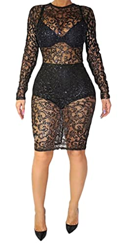 Womens Sexy Long Sleeve See Through Sequins Bodycon Party Club Split Dress