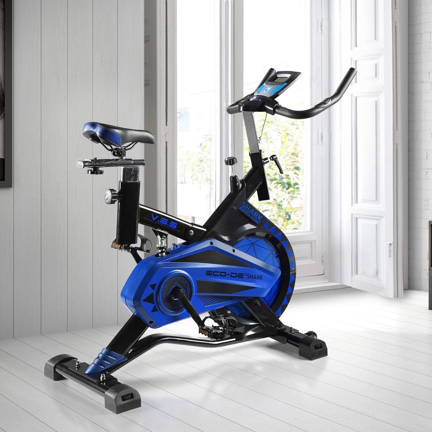 ECO-DE Bicicleta Spinning Shark. Uso semiprofesional con pulsómetro, Pantalla LCD y Resistencia Variable. Estabilizadores. Completamente Regulable.Rueda de inercia de 20kgrs: Amazon.es: Deportes y aire libre