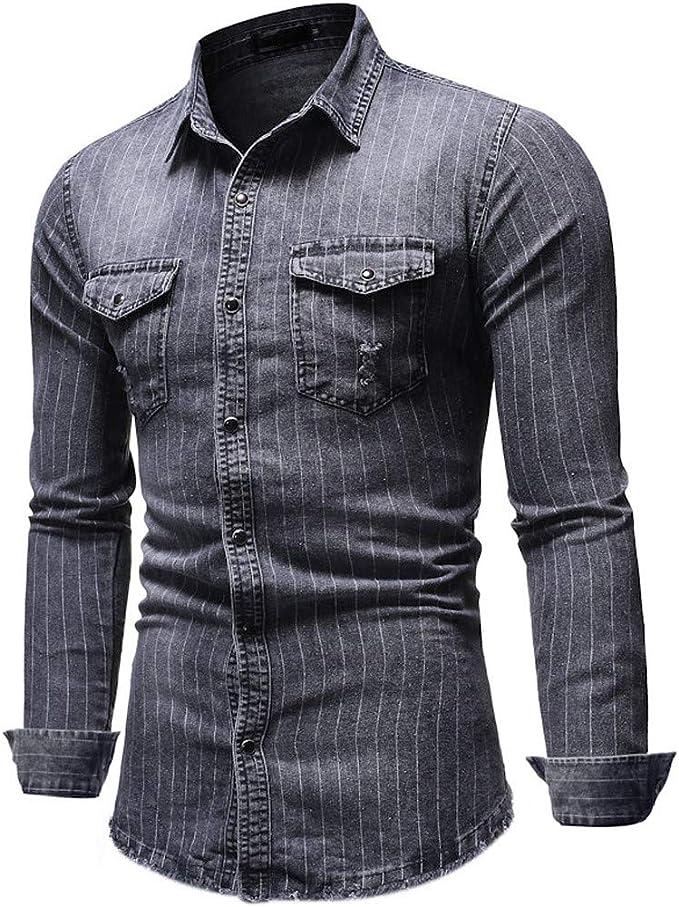 Heetey Camisa para Hombre, Camisa Vaquera de Manga Larga, Estilo Cowboy, para el Ocio, para Hombre, Cuello de Kent, Informal, Informal, a Rayas, con Bolsillos: Amazon.es: Ropa y accesorios