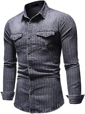 Finebo - Camisa Vaquera para Hombre de Manga Larga, diseño de Rayas Vaqueras, Gris, XXXL: Amazon.es: Hogar