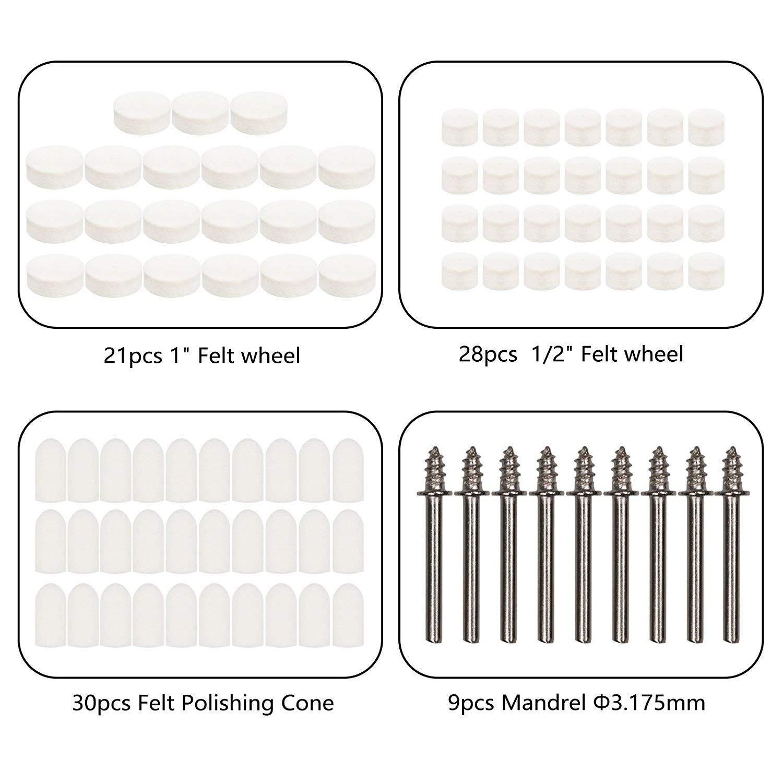 ZFE 88pcs Felt Polishing Pad /& Polishing Wheel,Point /& Mandrel Kit For Dremel Rotary tools