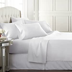 Danjor Linens Queen Size Bed Sheets Set - 1800 Series 6 Piece Bedding Sheet & Pillowcases Sets w/ Deep Pockets - Fade Resistant & Machine Washable - White