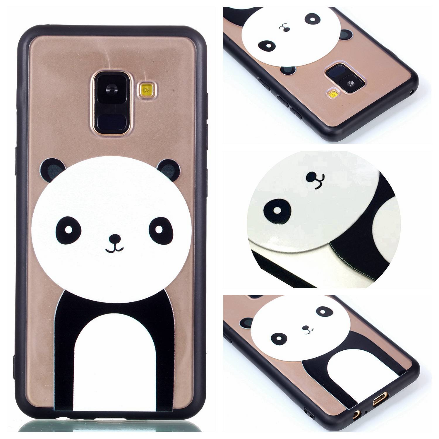 Gostyle Samsung Galaxy A8 2018 Clear Case, Hybrid 2 in 1 Soft Silicone TPU Frame + Transparent Hard PC Back Cover, Ultra Thin Fashion Creative Pattern Shockproof Bumper Cover, Cute Panda
