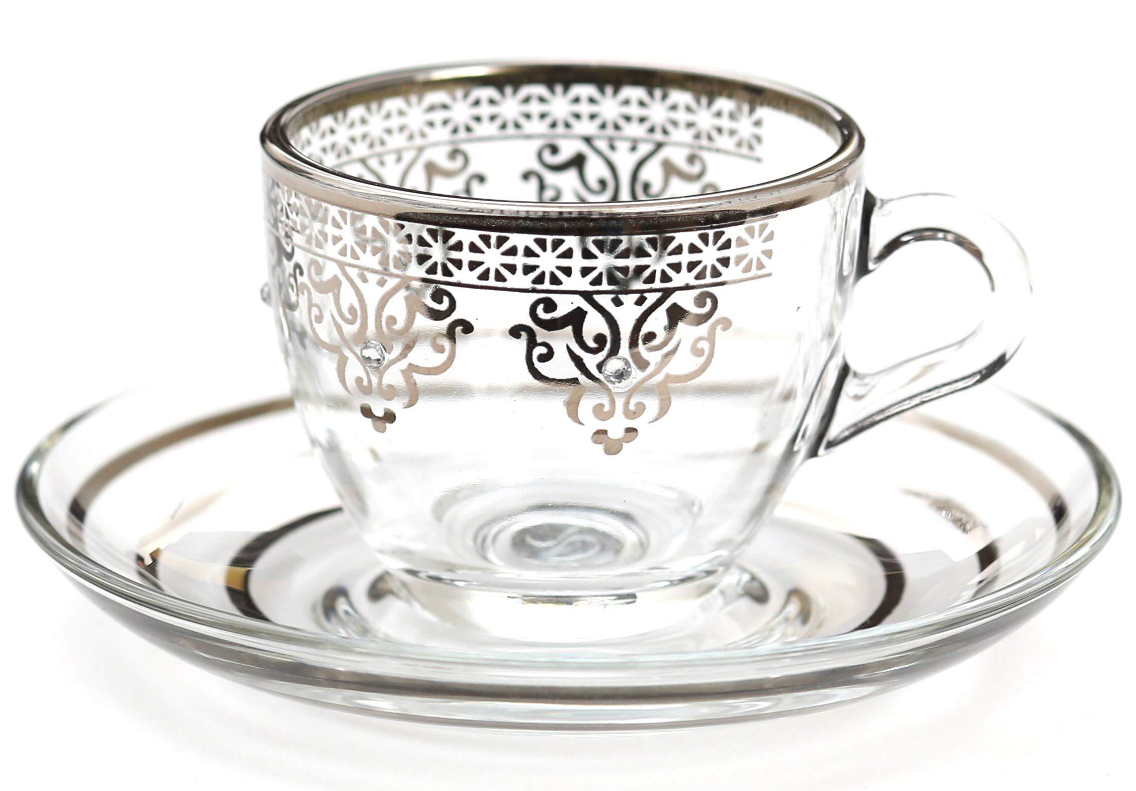 Platinum Plated Design Turkish Arabic coffee Set of 6 - Ottoman