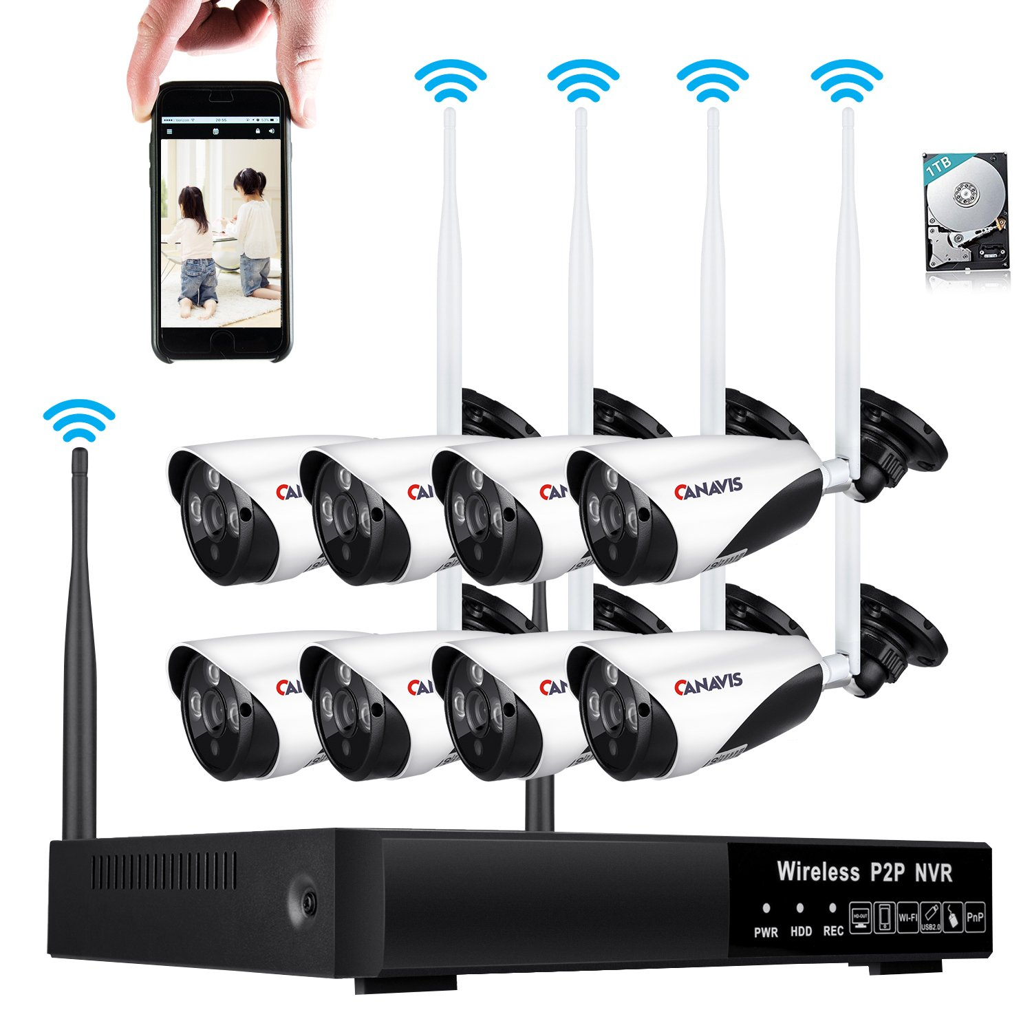 8CH Wireless Network Security Camera System 960P HD Surveillance CCTV NVR Video Recorder Kit 720P Wifi IR Outdoor Bullet IP Cam with 3.6mm Lens for Home, P2P, 100ft Night Vision 1TB HDD Remote Viewing