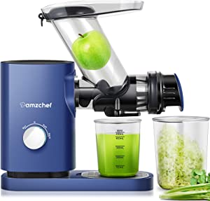 Juicer Machines AMZCHEF Cold Press Slow Juicer Slow Masticating Juicer Vegetables&Fruits Extractor 3'' Large Feed Chute Non-porous Filter Easy Clean ≤58dB 2 Speeds Jug Brush BPA-Free