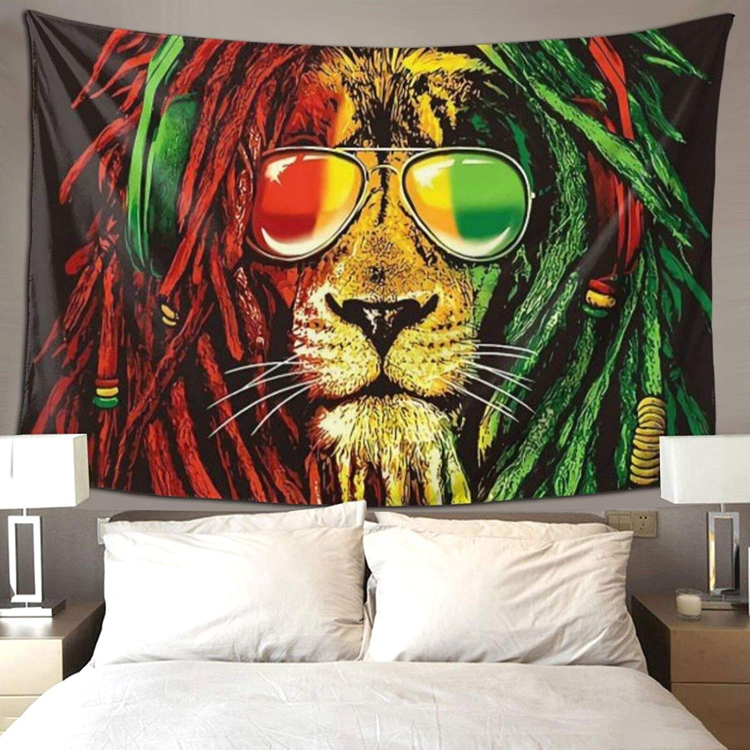 Hippie Art Tapestry Wall Hanging Tapestries Reggae Rasta Lion Wall Blanket Wall Hanging Home Decor Tablecloths for Bedroom Living Room Dorm Restaurant, 60X90 inches