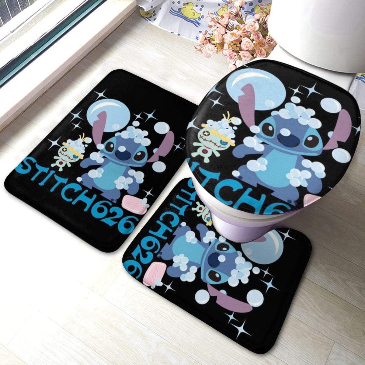 Lilo & Stitch Colorful Non Slip Bathroom Rug Set 3 Piece Anti-Skid Bath Mat 15.7 Inches X 23.6 Inches + Type U Contour Rug + Toilet Lid Cover Mat