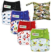 Asenappy All in One Cloth Diaper 4 Pack Reusable AIO Sewn Inserts with Pocket Overnight (Boy)