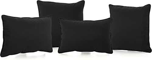 Corona Outdoor Patio Water Resistant Pillow Set 4, Black