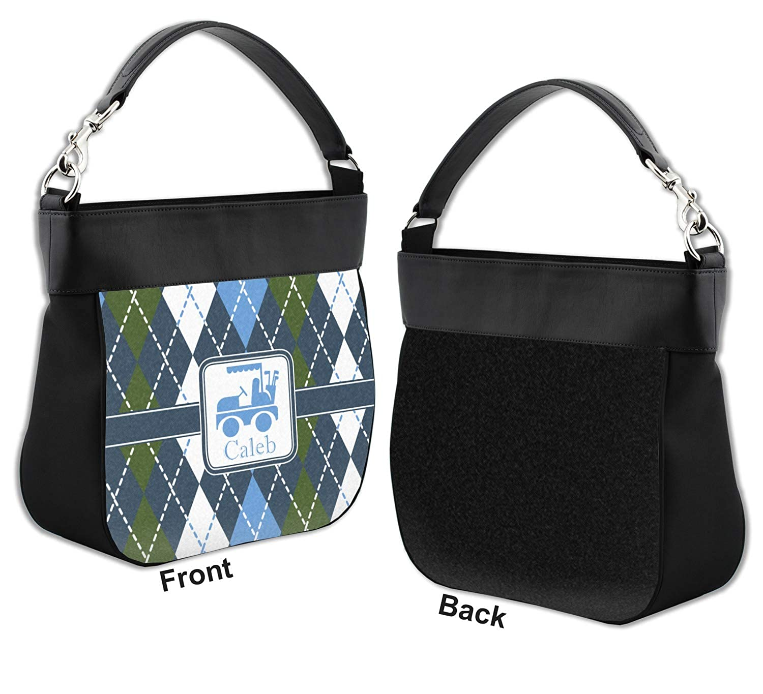 Blue Argyle Hobo Purse w//Genuine Leather Trim Personalized Front