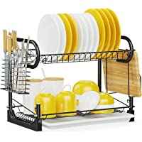 iSPECLE 2 Tier Dish Drying Rack with Utensil Holder, Cutting Board Holder and Dish Drainer (Black_104)