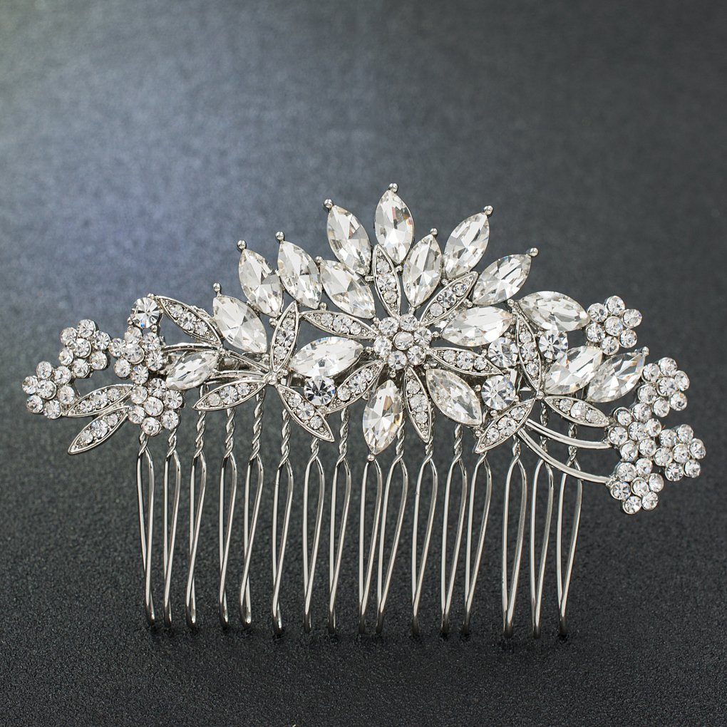 SEPBRIDALS SEPBRDIALS Rhinestone Crystal Wedding Brides Hair Comb Pins Pieces Accessories Jewelry FA5089 (Silver)
