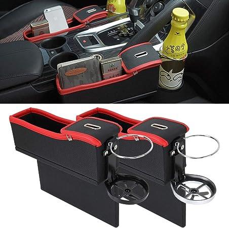 Organizador del coche 2 PCS, asiento de coche for hendiduras Caja de almacenamiento con un intervalo