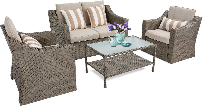 Incbruce 4Pcs Outdoor Patio Sofa Set PE Rattan Wicker Conversation Set
