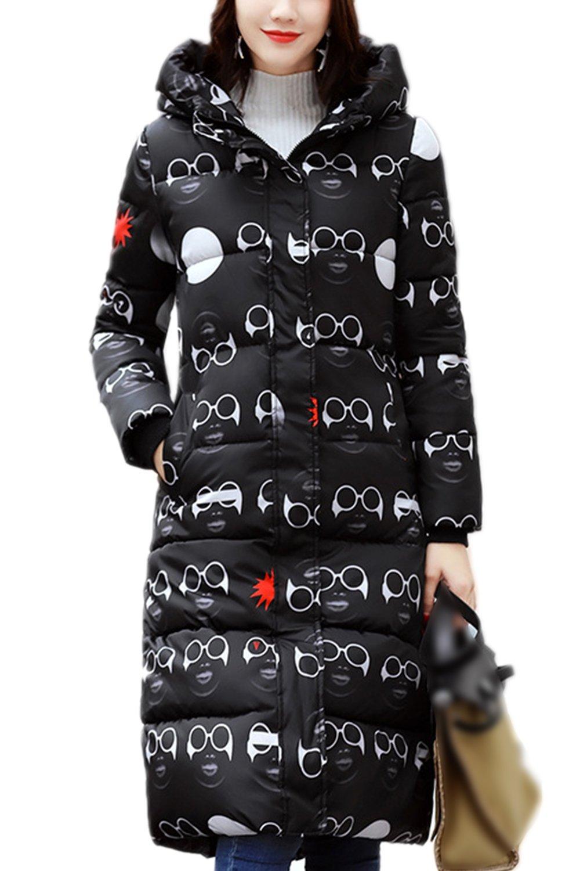 Women Hoodie Zip Up Pockets Longline Down Jacket Coat Outerwear Glasses M