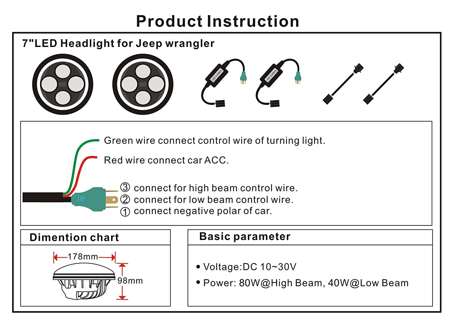 Jeep Wrangler Motor Diagram Schematics Wiring Diagrams Blower Pair 7 Quot Round 60w Led Headlights 4 30w Fog Lights 2007 2017 Jk Ebay 1998