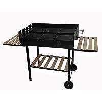 Grill XL schwarz BBQ Garten ✔ Rollen ✔ Seitentische beidseitig ✔ eckig ✔ rollbar ✔ stehend grillen ✔ Grillen mit Holzkohle ✔ mit Station ✔ mit Rädern