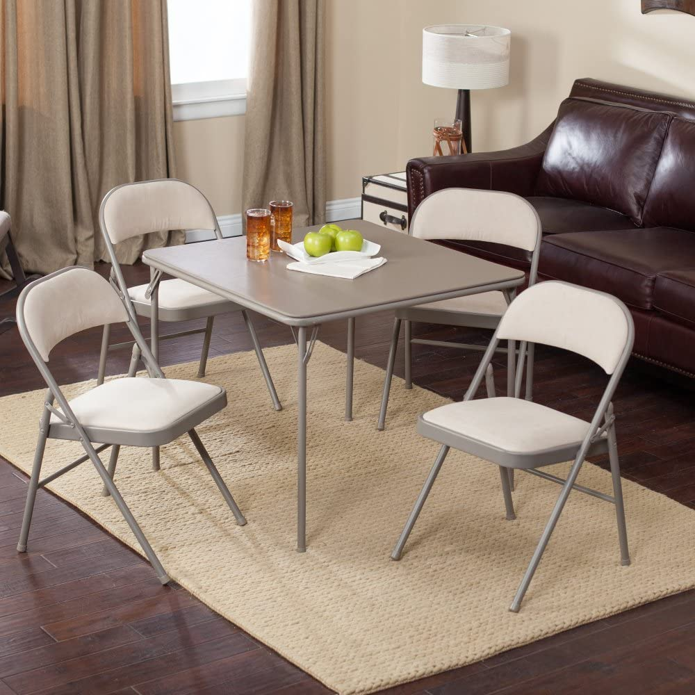 Meco Sudden Comfort Deluxe Double Padded Chair and Back - 5 Piece Card Table Set -