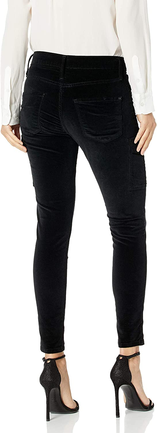 James Jeans Womens J Twiggy Ankle Length Cargo Velveteen Legging in Black Vel