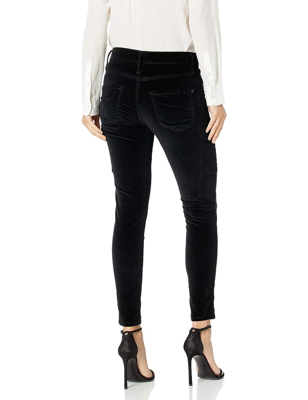 James Jeans Womens J Twiggy Ankle Length Cargo Velveteen Legging in Black Vel