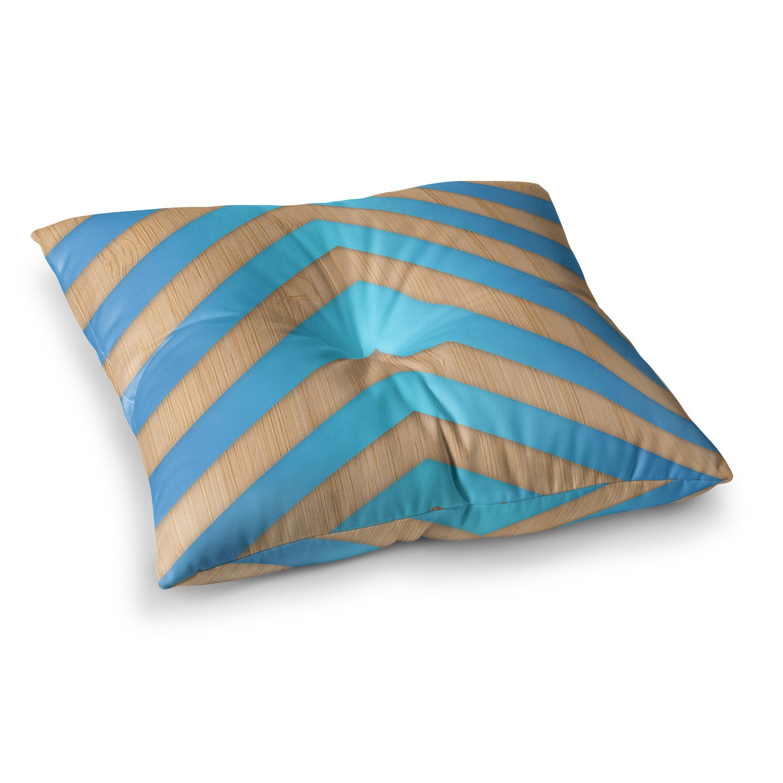 Kess InHouse Marta Olga Klara Turquoise Chevron Blue Brown, 23' x 23' Square Floor Pillow