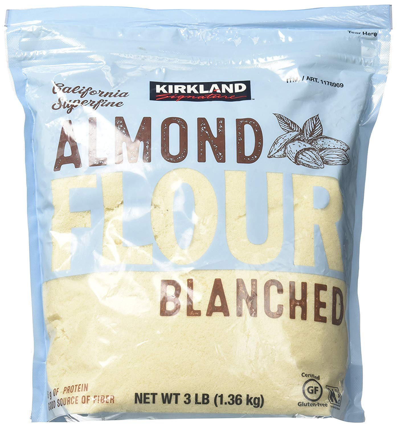 Kirkland Signature fgdg Almond Flour Blanched California Superfine, 3 Pounds - 2 Pack by Kirkland Signature (Image #1)
