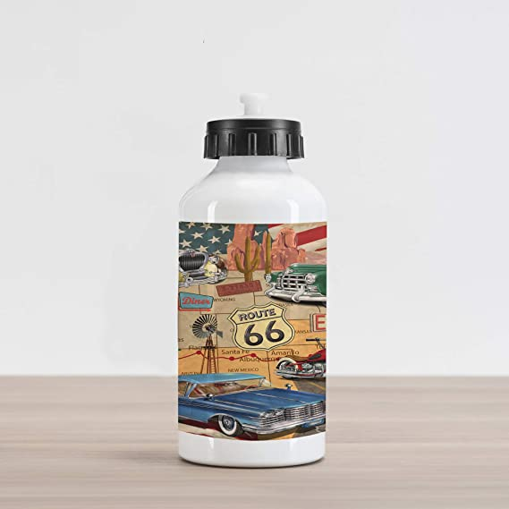 Amazon.com: Lunarable Route 66 Aluminum Water Bottle, Old ...