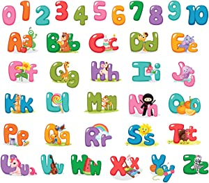 StikArt 101-174 Removable Kids Alphabet Letters & Numbers Wall Sticker Decals for Home Living Room Bedroom School Classroom Decor (5-inch)